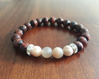 Simple Brown Beaded Bracelet With Matte Beads