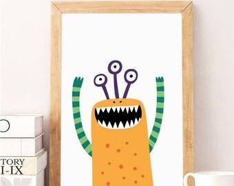SALE Cute monster print, Little monster, Monster decor, Nursery wall art, Cute monster art, Little monster baby print, Baby boy nursery