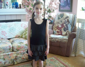 Gymboree, Black Bodice with Ruffled Polka Dot Skirt, Size 6