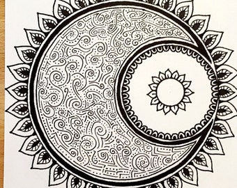 Mandala Moon Coloring Card