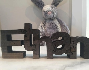 Handmade, Standing, Personalized Name puzzles, wood puzzle, alphabet puzzle, kids puzzle - handsawn nursery art (4 inch)