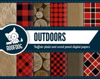 Buffalo plaid pattern digital paper   lumberjack digital   wood panel digital paper pack instant download   outdoorsman woodsman digital