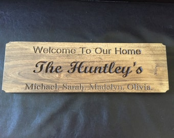 Custom family welcome sign