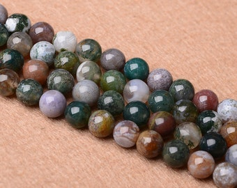 Natural Indian Agate, Natural Stone Beads, Indian Agate Beads, Round Beads, Semi Precious, Gemstone Beads, Agate, 4 6 8 10 12 14 mm, (AB011)