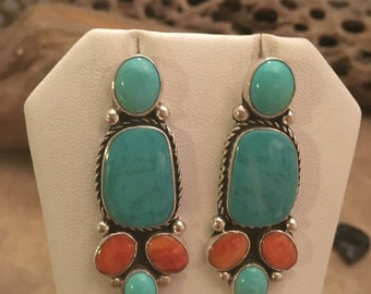 ON SALE Vintage Navajo Sterling Silver, Turquoise & Spiny Oyster Dangle Earrings