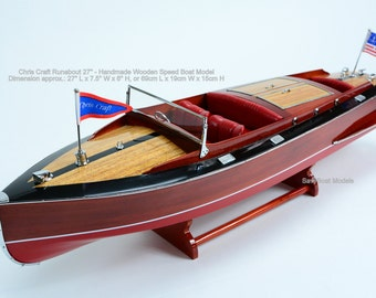 """Chris Craft Runabout 27"""" Handmade Wooden Classic Boat Model"""