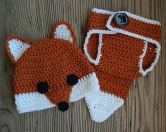 Crochet Newborn Fox Hat and Diaper Cover