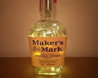 Upcycled Maker's Mark Bourbon Whisky LED Light Bottle