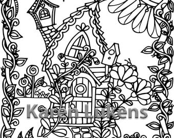 Happyville Retreat, 1 Adult Coloring Book Page, Printable Instant Download