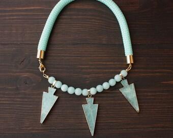 Statement Amazonite Stone Necklace by Artig Jewelry