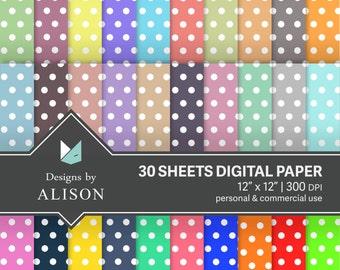 30 Sheets Polka Dot Digital Paper Pack Rainbow Bright Colors Pastel Jewel Tone Digital Scrapbook Paper Pack Commercial Use Instant Download