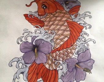 Koi Carp with Flowers and Water Tattoo Design