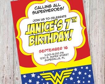 Wonder Woman Birthday Invitation (DIGITAL FILE)