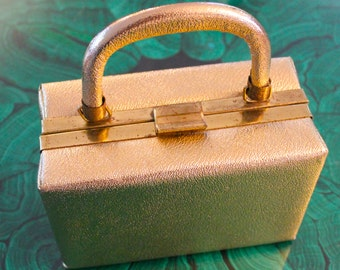 Vintage 50's 60's Metallic Gold Brass Box Purse Clutch Handbag Evening Bag