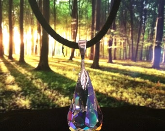 Genuine Large Swarovski Crystal AB Tear Drop Pendant Sterling Silver Leaf  with Leather Suede Cord