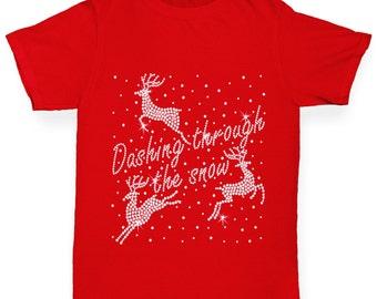 Girl's Dashing Through The Snow Rhinestone Diamante T-Shirt