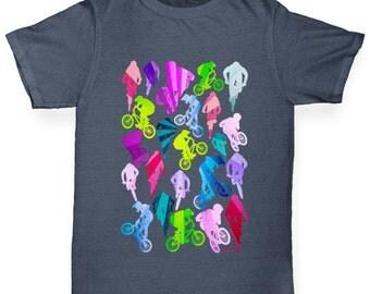 Boy's Bmx Rainbow Collage T-Shirt