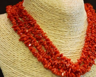 necklace with red Mediterranean coral wires