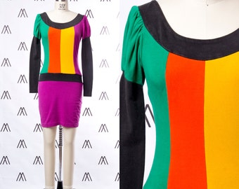 1990s Colorblock Princess Sleeve Bodycon Dress