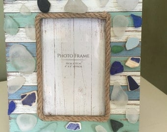 Sea glass and pottery picture frame