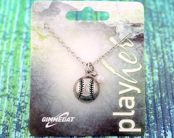 Customizable Silvertoned Softball Necklace with Pearl - Personalize with Number, Heart, or Letter Charm! Great Softball Gift!