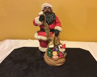 Christmas Vintage African American Santa with List Figurine