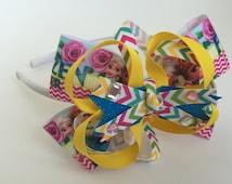 Frozen Fever Headband-Disney FROZEN-Elsa Anna Sunflowers headband, Frozen Bow, Frozen Headband, Stacked Bow, Boutique Bow