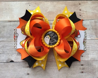 Ready to Ship! Halloween Hair Bow, Candy Corn Hair Bow,  Stacked Hair Bow, Halloween Hair Clip