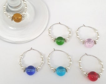 6 Wine glass Charms,  Wine Charms, Hostess Gift, Wine Lover Gift, Wine Accessories, Wine Charm
