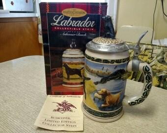 1992 Collectible Labrador Stein Limited Edition Budweiser