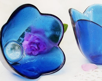 Flower Shaped Vases/Ice-Cream Bowls/Candle Holders Made of Cobalt Blue Glass