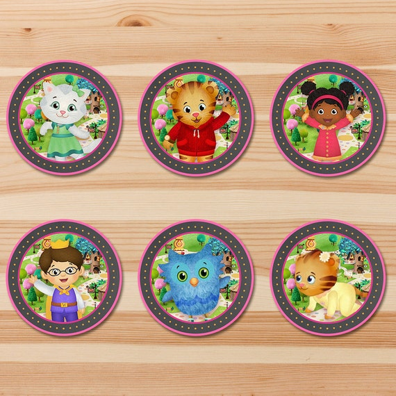 Daniel Tiger Birthday Cupcake Toppers - Pink Chalkboard - Girl Daniel Tiger Stickers - Daniel Tiger Birthday Party - Daniel Tiger Party 2 in