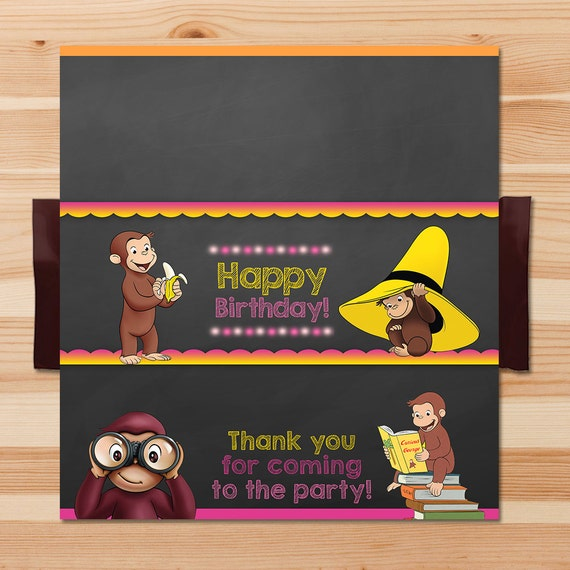 Curious George Birthday Candy Wrapper - Pink Chalkboard - Girl Curious George Chocolate Wrapper - Curious George Party Printables