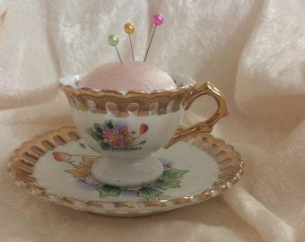 "Vintage Mini Tea Cup Pin Cushion 2"" High ADORABLE!!"