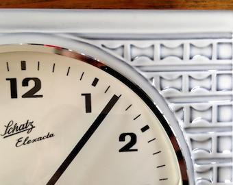 German Beauty: Original Schatz Ceramic Retro Clock, ATO-MAT clockwork