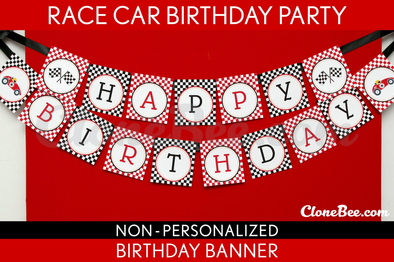 Race Car Birthday Party Banner Happy Birthday