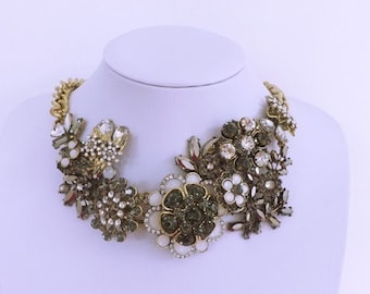 Statement Necklace with Rhinestone Flowers