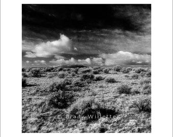 Taos New Mexico dramatic square black and white landscape