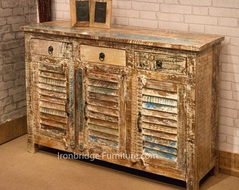 Vintage style painted triple sideboard. Made from reclaimed hardwood timbers from old furniture. (VS-4)