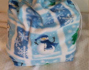 Holiday Winter Fleece Bag with Drawstring, Gift, Wrapping, Soft Book Bag, Stuffed Animal Storage