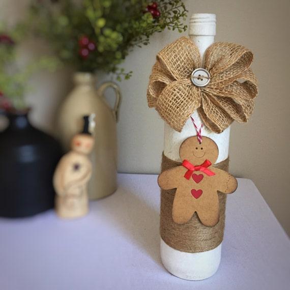 Gingerbread Decor/Gingerbread Man/Winter Wonderland/Christmas Decor/White Christmas/Country Christmas Decor/Wine Bottle/Recycled Bottle