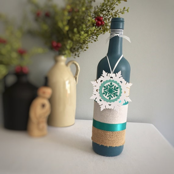 Snowflake Decor/Christmas Decor/Winter Decor/Wine Bottle Decor/French Blue/Hand Painted/Blue and Teal/Handmade Gift Tag/Wine Lover Gift