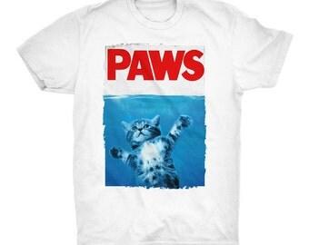 Paws T-Shirt. Jaws Movie T-Shirt. Kitten Shirt. Kitty T-Shirt. Cat T-Shirt. Gift For Him. Gift for Her. 100% Ringspun Cotton Soft Tee.