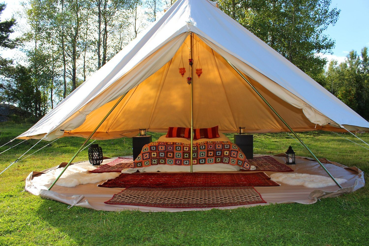 1 & Canvas Bell Tent 16 ft round Festival Tent-Yurt-Bohemian Style ...