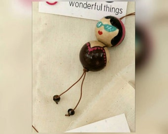 Ball Doll Pendant wooden summer colour A