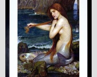 Art Print - Mermaid Painting Waterhouse Old Master Poster Art FE1677OM