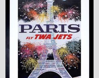 Art Print - TWA Paris Travel Tourism Eiffel Firework France Usa Poster FEBB2878B