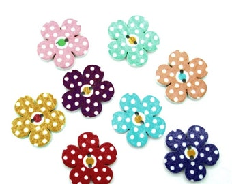 50 buttons for sewing or scrapbooking multicolored wooden flower
