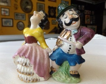 Vintage Ceramic Figurine Salt and Pepper Shaker Set Dancing Lady with Man playing Fiddle/Violin