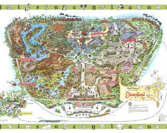 Disneyland 1964 Hand-Retouched Vintage Cartoon Map Print (Not available anywhere else!)